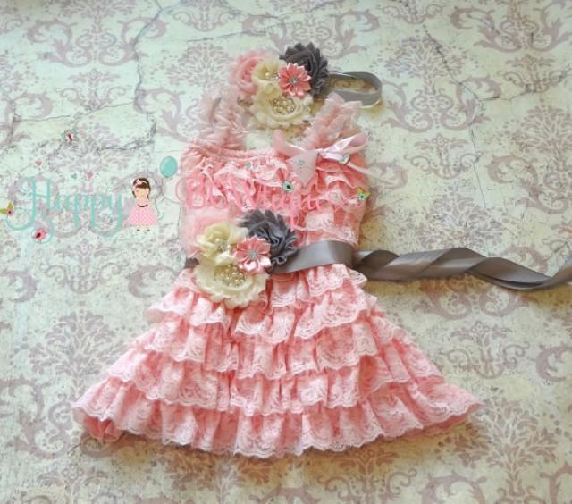 wedding photo - Flower Girl Dress- Ivory PInk Grey Petti Lace Dress set, ruffle dress, girls dress, Birthday dress,baby girl dress,Pink dress,Princess dress