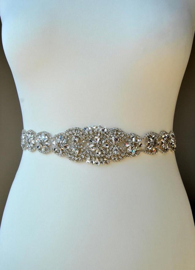 Bridal sash wedding dress sash belt rhinestone sash for Rhinestone belts for wedding dresses