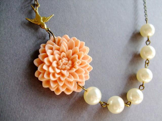 Bridesmaid Jewelry SetPeach Flower NecklaceFor HerGiftIvory Pearl JewelryBeadworkWedding ...