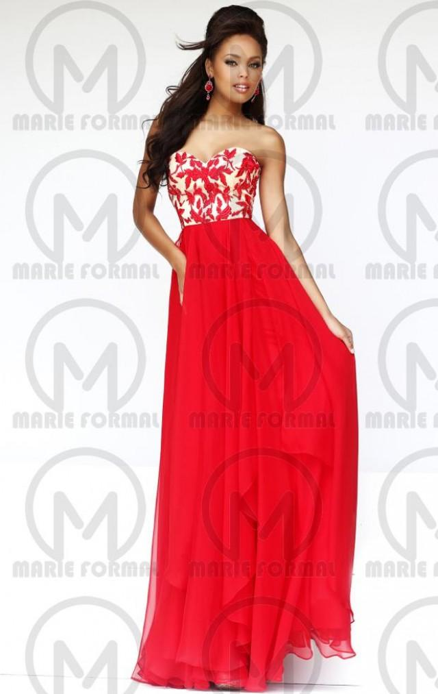 wedding photo - red formal dresses