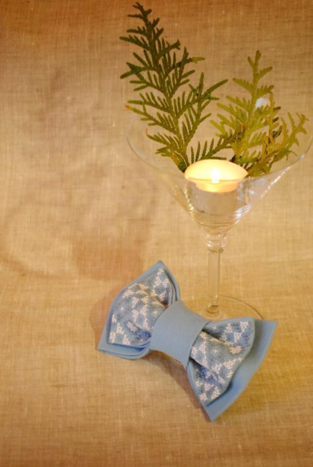 Embroidered blue men s bowtie gift ideas for him boyfriend