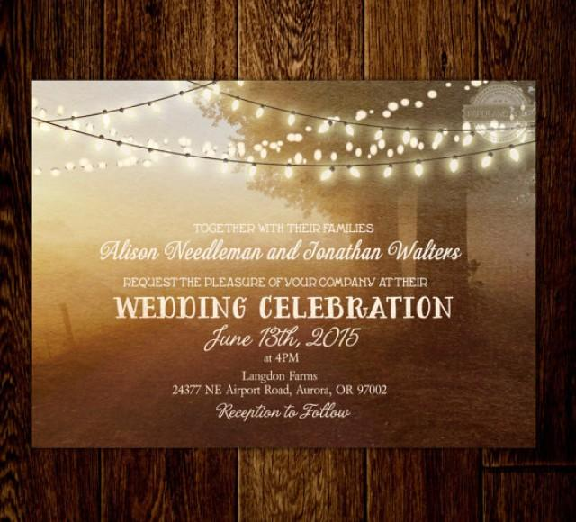 Rustic Fairy Lights String Lights Countryside Wedding Invitation Optional RSVP Save The Date