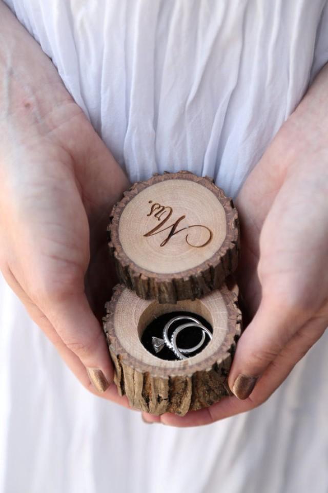 wedding photo - Engraved Wood Wedding Ring Bearer Slice, Rustic Wooden Ring Holder, Reclaimed Hickory Ring Bearer Pillow - Black Velvet Lined!
