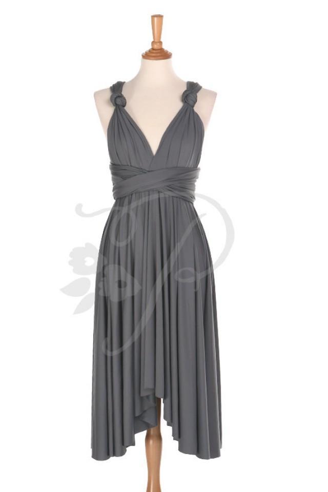 Bridesmaid Dress Infinity Dress Charcoal Grey Knee Length Wrap Convertible Dress Wedding Dress ...
