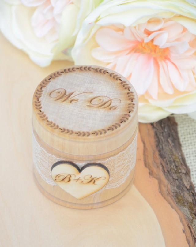 wedding photo - Personalized rustic ring bearer box,  We Do  ring bearer box