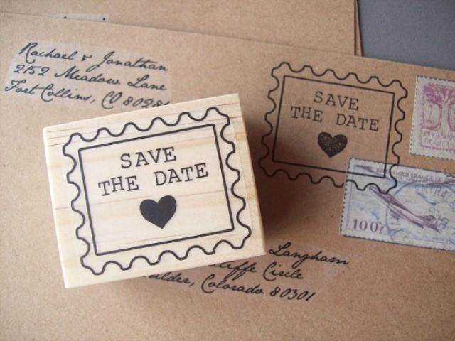 Save The Date Rubber Stamp Postage Stamp Style With Heart