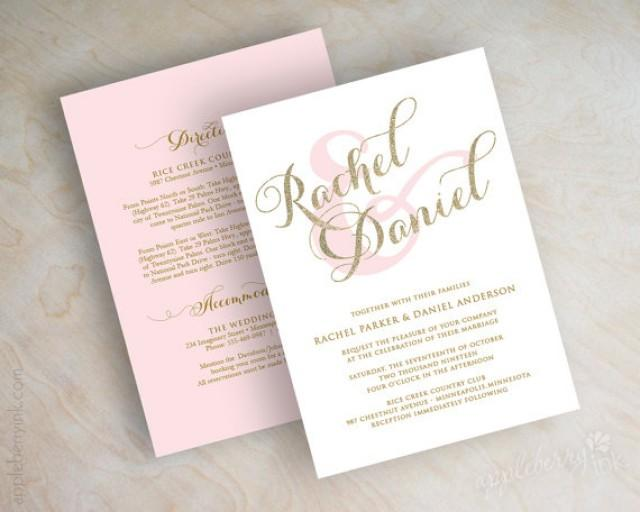 gold glitter sparkle wedding invitation pink and gold