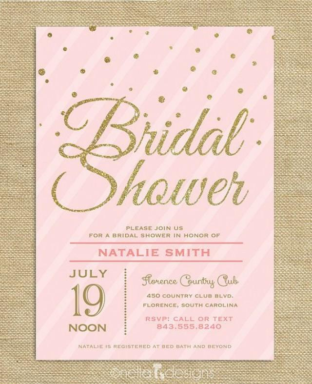 Pink And Gold Bridal Shower Invitations can inspire you to create best invitation template