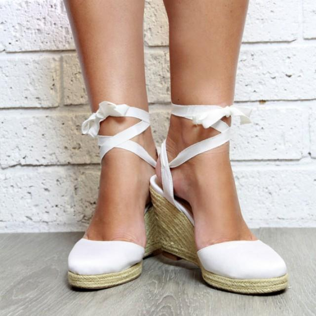 Bridal Shoes Boho: Ladies White Espadrille Wedge, Heeled Sandals, White Heels