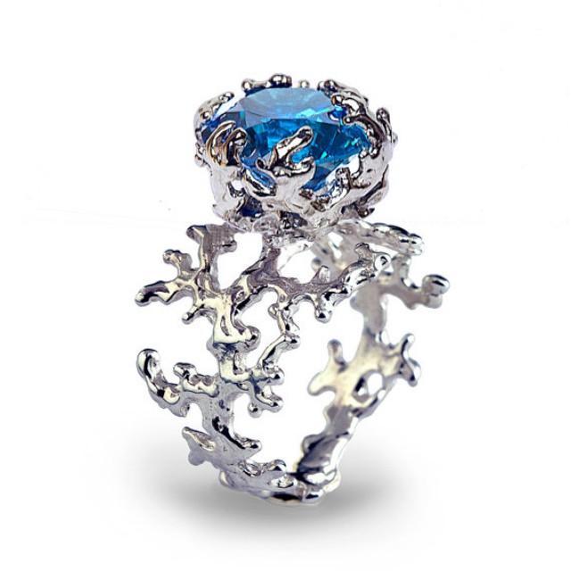 coral blue topaz engagement ring 14k gold gemstone