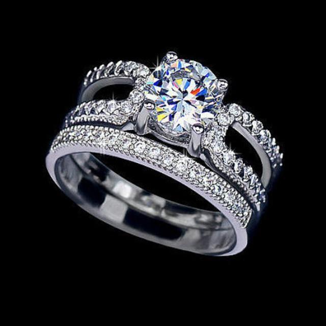fancy bridal set ring 1 25 carat cut cubic zirconia