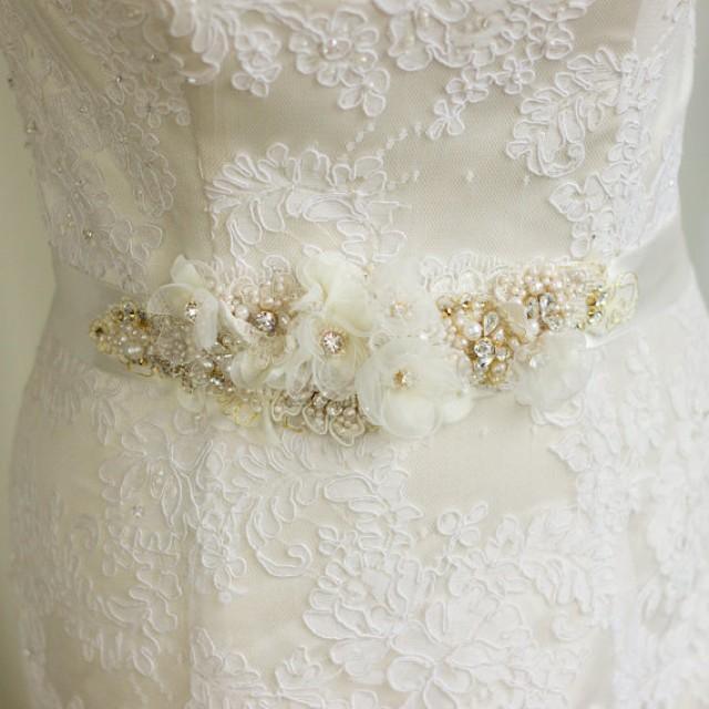 Wedding belt bridal belt wedding dress belts sashes floral for Ivory wedding dress belt