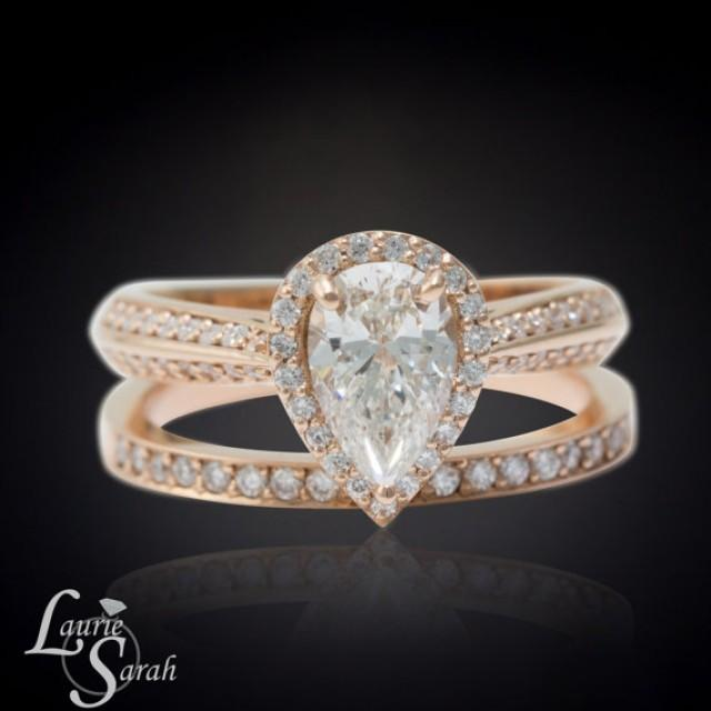 Pear Diamond Engagement Ring Rose Gold Pear Diamond Ring Knife Edge Diamond
