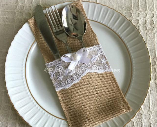 wedding photo - 10 burlap and white color lace rustic silverware holder, wedding, bridal shower, tea party table decoration