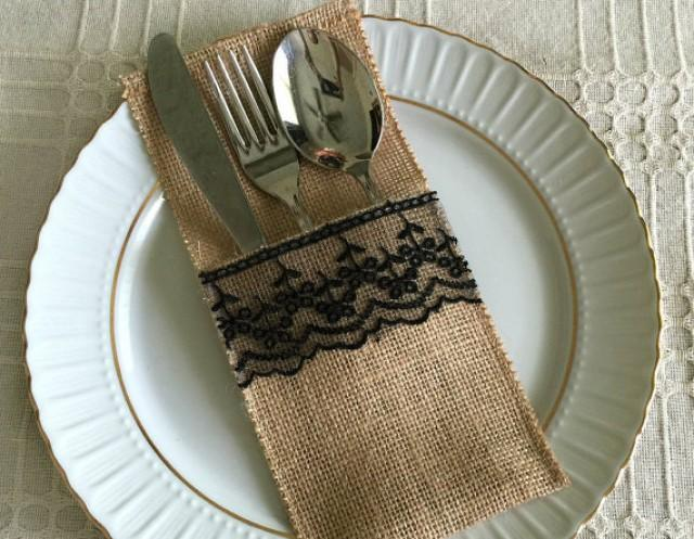 wedding photo - 10 burlap and black color lace rustic silverware holder, wedding, bridal shower, tea party table decoration