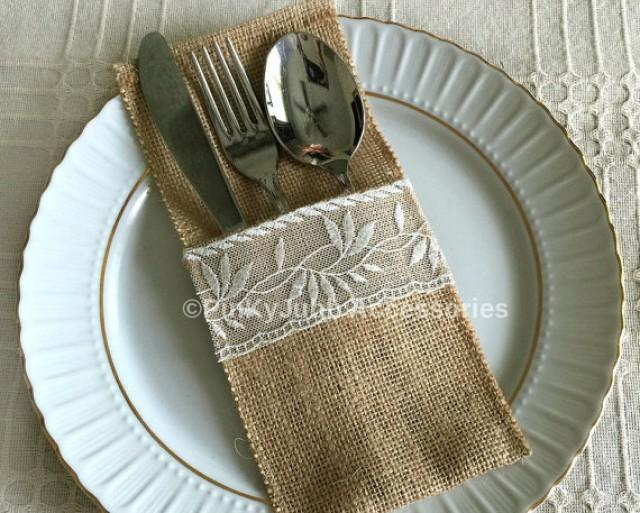 wedding photo - 10 burlap and ivory color lace rustic silverware holder, wedding, bridal shower, tea party table decoration