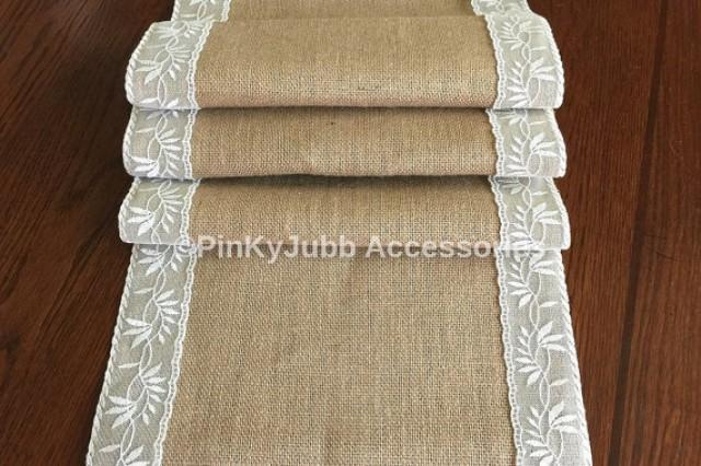 wedding photo - rustic burlap table runner with ivory color lace trim, rustic wedding, engagement table decoration runner