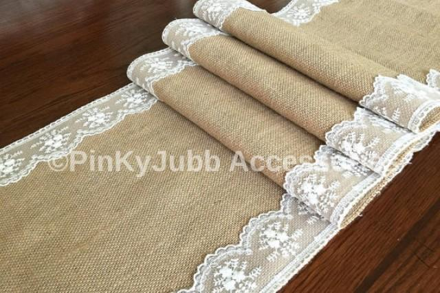 wedding photo - burlap table runner with ivory color lace trim, rustic wedding, engagement table decoration runner