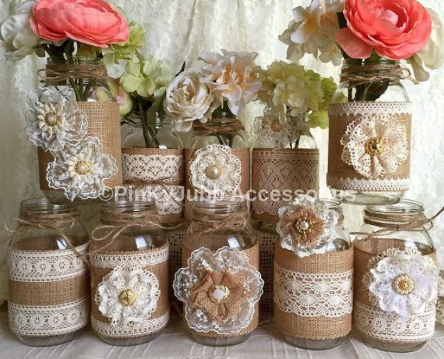 wedding photo - 10x natural color lace and burlap covered mason jar vases, wedding, bridal shower, baby shower decoration