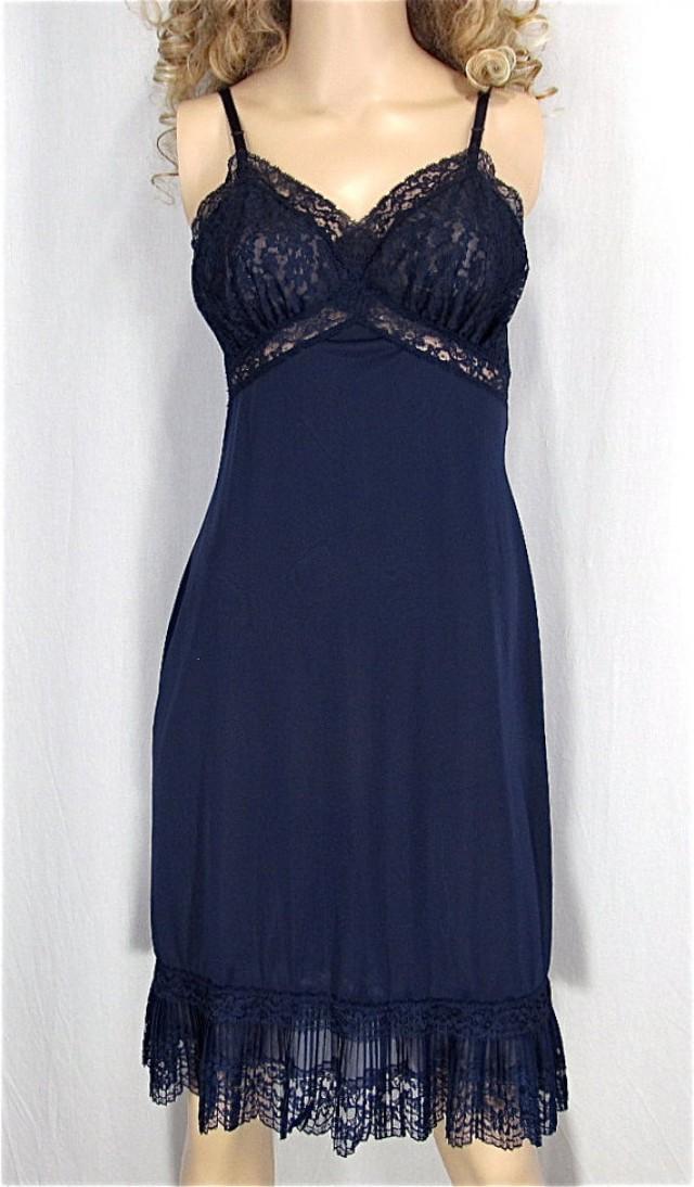 40f020625a0 Vintage Crystal Pleat Slip 34 Navy Blue Nylon Petti Slip Pin Up Lingerie  Vintage Petticoat Sexy Bridal Lingerie Boudoir Honeymoon Nightgown