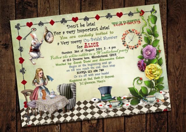 diy alice in wonderland bridal shower invitations. alice and, Baby shower invitations