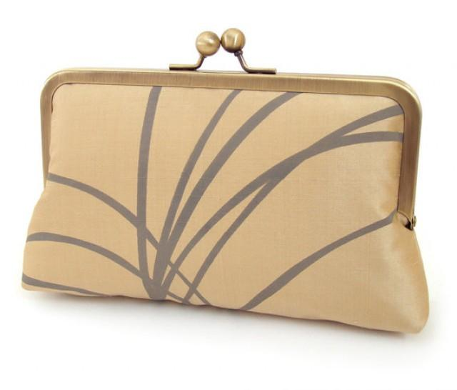 SALE Clutch Bag Printed Silk Purse Gold Wedding Accessory Bridesmaid Gift Party Clutch ...