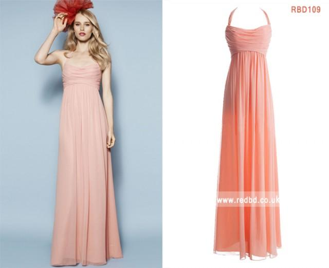 wedding photo - Halter Pink Bridesmaid Dress