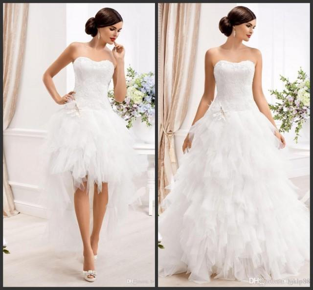 2015 sweetheart ball gown wedding dresses with detachable for Wedding dress removable skirt