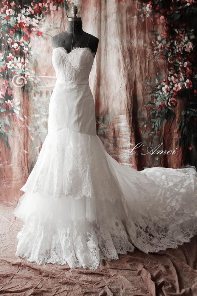 High quality handmade beaded french lace wedding dress for French lace wedding dress
