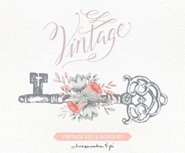 Vintage Key With Floral Bouquet Clipart Wedding Invitation Clip Art Graphics Commercial Use