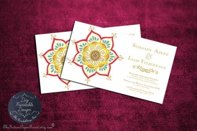 Printable Indian Wedding Invitation Template Pdf LOTUS Floral Anniversary Engagement Party ...