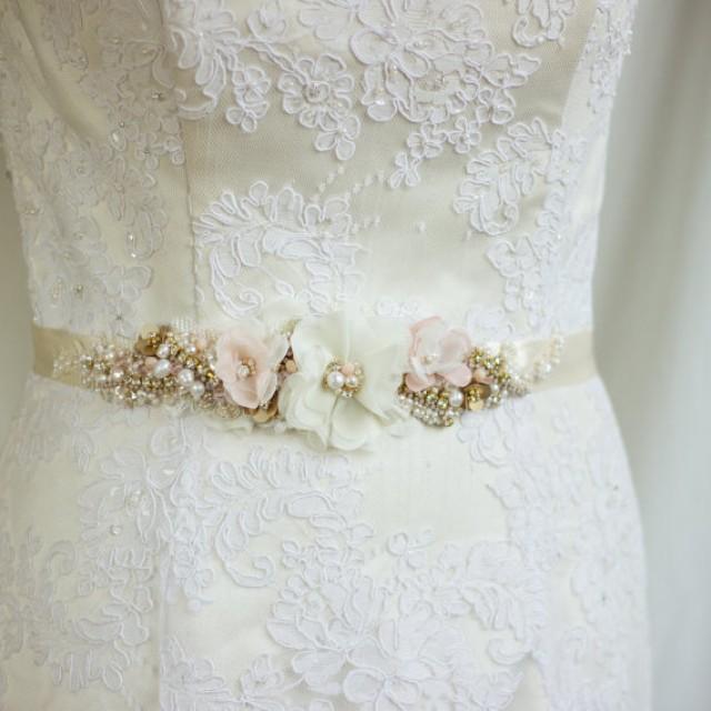 Blush wedding belt sash bridal belt champagne bridal for Gold belt for wedding dress