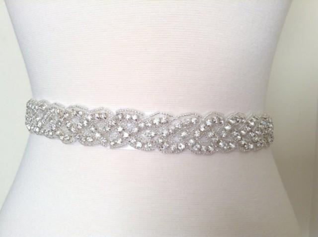 Bridal sash bridal belt wedding dress sash rhinestone for Sparkly belt for wedding dress