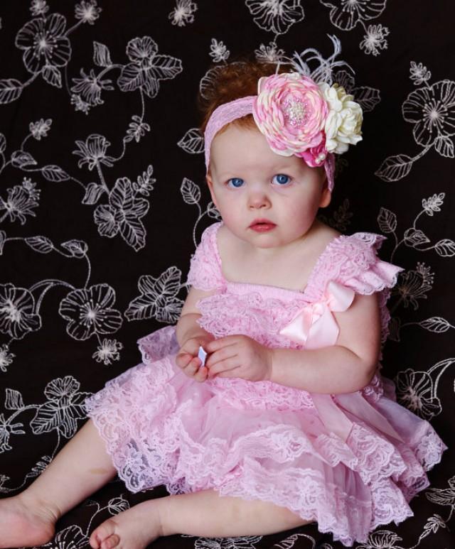 Aqua Pink Lace Dress Headband SET Toddler baby Dress