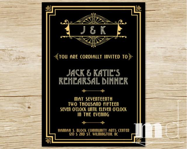 Great Gatsby Rehearsal Dinner Invitation - Gatsby Wedding ...