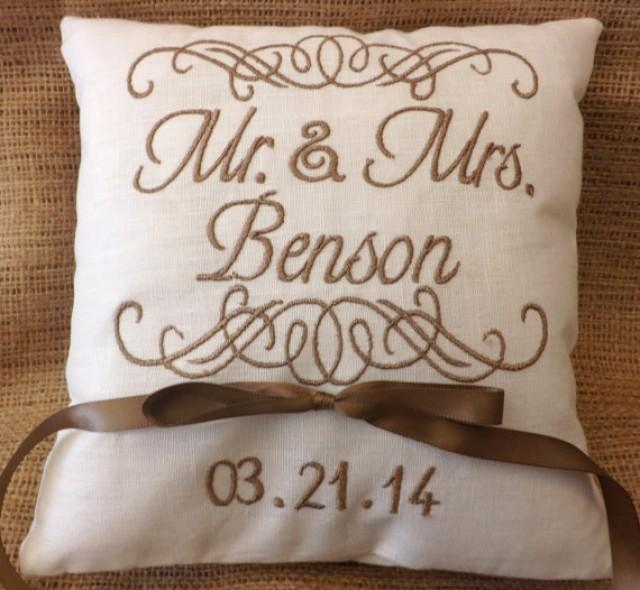 Monogram Wedding Ring Bearer Pillow: Ring Bearer Pillow, Ring Bearer Pillows, Wedding Pillow