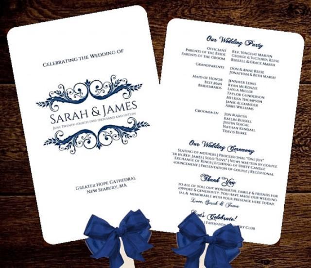 Wedding FAN Program Printable NAVY INSTANT Download Sarah Design Diy