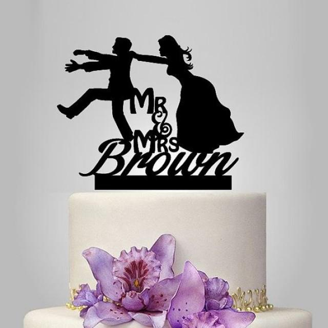 Bride Pulling Groom Cake Toppers