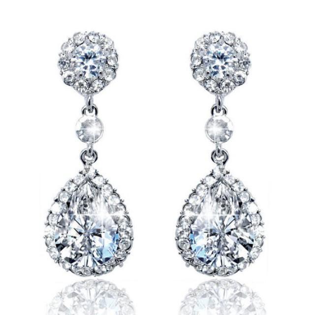 bridal earrings quot cubic zirconia quot wedding earrings wedding
