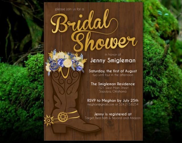 Cowboy Boot Wedding Invitations: PRINTABLE Western Bridal Shower Invitation