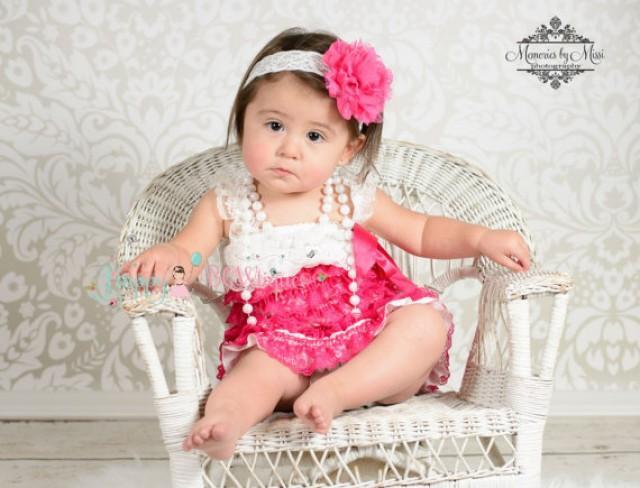 wedding photo - Flower girls dress- Hot Pink White Lace Dress,Ruffle dress,Girls dress,baby girls dress,Birthday dress, girls outfit,flower girl dress, Girl