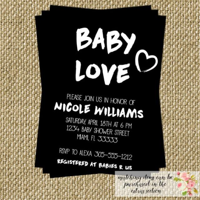 baby love baby shower invitation modern black and white fresh artisic