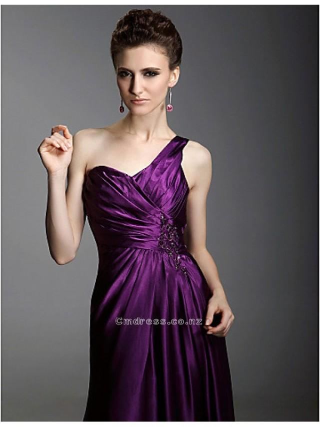 ... One-shoulder Brush Train Elastic Satin Evening DressSKU: SEM0665-LT