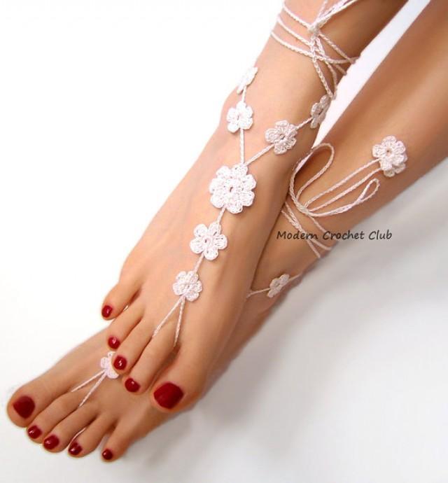 960304fd966e63 wedding photo - Barefoot Sandals WHITE BIG FLOWER