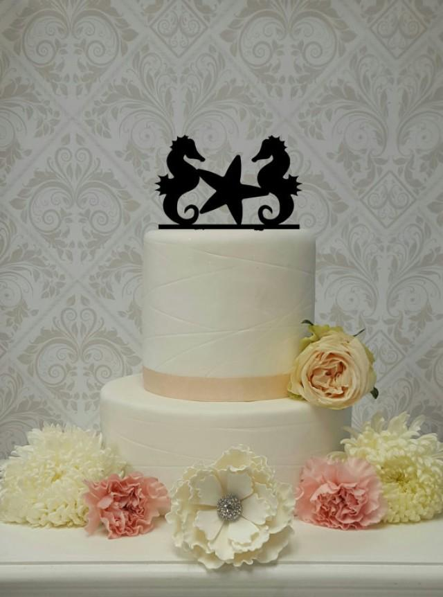 wedding photo - Seahorse Starfish Beach Nautical Themed Topper Wedding Cake Topper