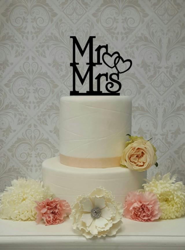wedding photo - Mr and Mrs Double Heart Cake Topper Wedding Cake Topper Mr and Mrs Mr and Mr Mrs and Mrs