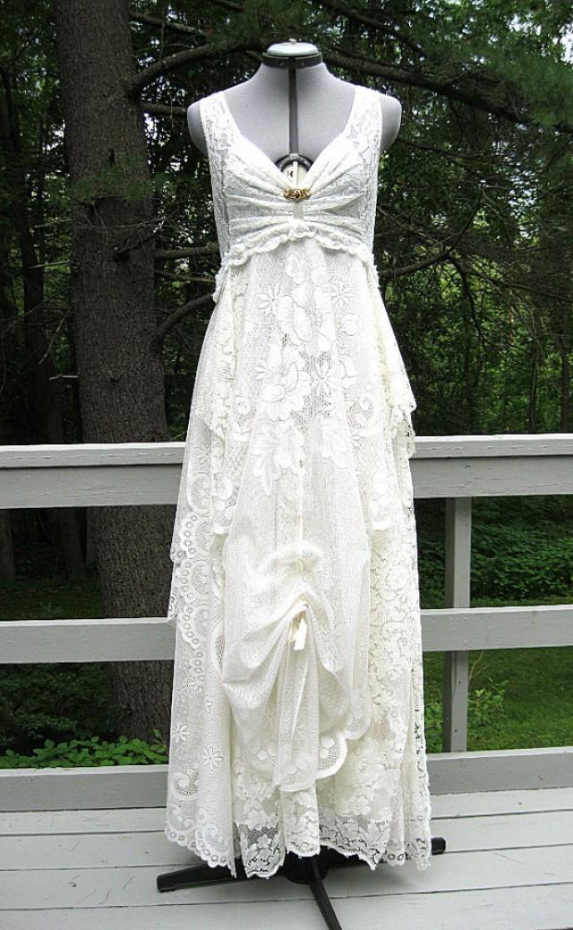 Cream off white ivory tattered alternative bride boho Hippie vintage wedding dresses