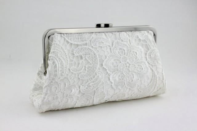 wedding photo - White Lace Clutch / Wedding Gift / Bridal Clutch / Bridesmaid Purse Clutch