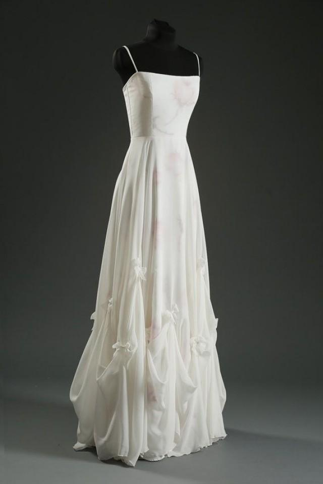 Alternative Floral Wedding Dress Romantic Long MERCI BEAUCOUP Silk Chiffon And Cotton Voile