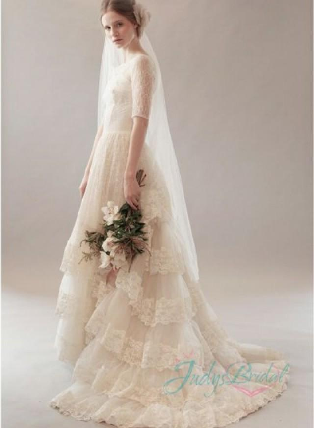 Jol286 vintage lace bateau neck half length sleeves bridal for Lace antique wedding dress
